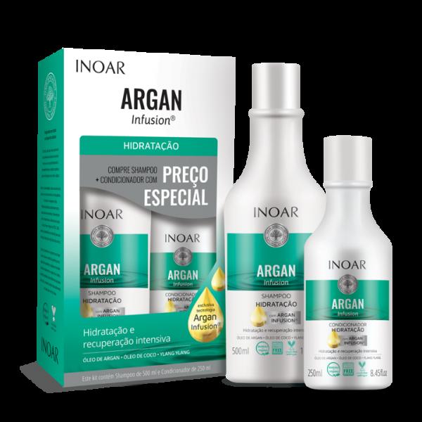 INOAR Argan Hydrating Duo Kit - plaukus drėkinantis šampūno ir kondicionieriaus rinkinys