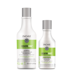 INOAR CicatriFios Duo Kit - šampūnas ir kondicionierius atkuriantis plauko struktūrą 500 ml + 250 ml