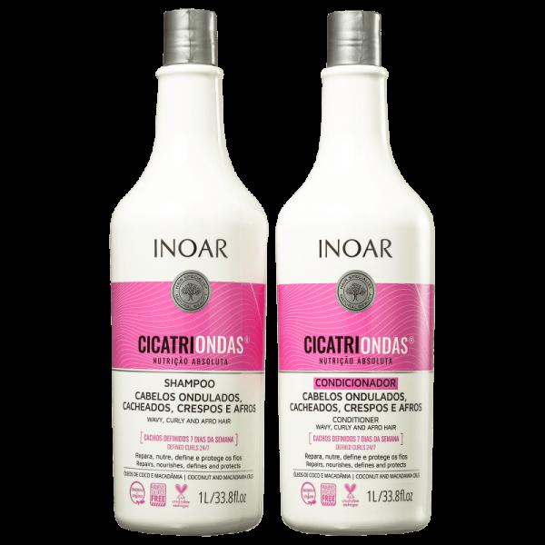 INOAR CicatriOndas Kit - garbanotų plaukų rinkinys 2x1000 ml