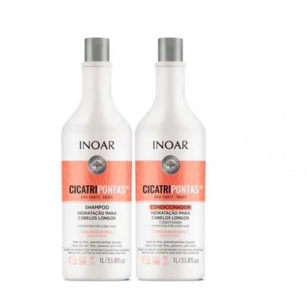 INOAR CicatriPontas Kit - rinkinys ilgiems plaukams 2x1000 ml