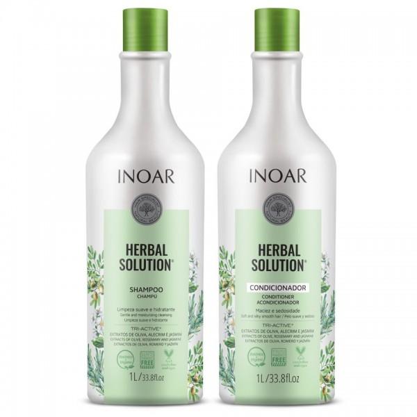 INOAR Herbal Solution  - rinkinys su alyvuogių, rozmarinų ir jazminų ekstraktu 2x1000 ml