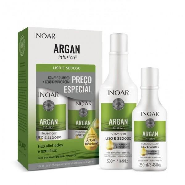 INOAR Argan Infusion Smooth and Silky Duo Kit - glotnių ir švelnių plaukų rinkinys
