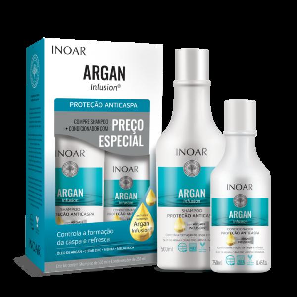 INOAR Argan Infusion Anti-dandruff Protection Duo Kit - riebios ir pleiskanotos galvos odos priežiūros šampūno ir kondicionieriaus rinkinys 500 ml+250 ml