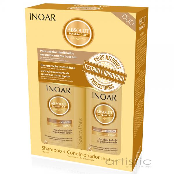 INOAR Daymoist Duo Kit - Rinkinys chemiškai pažeistiems plaukams 2x250ml