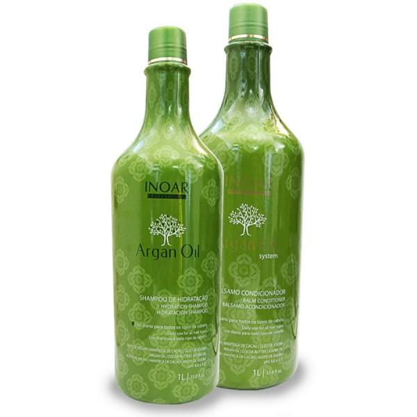 Inoar Argan Oil Duo Kit-Rinkinys:pažeistiems,sausiems plaukams su Argano aliejumi 1L