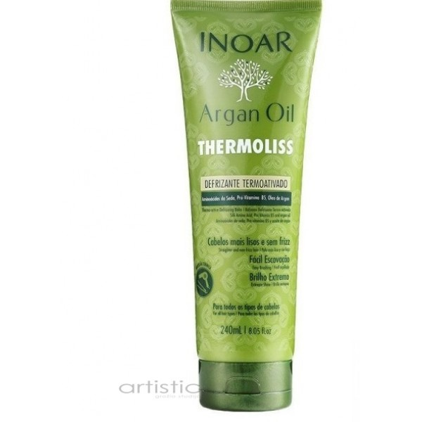 INOAR Argan Oil Thermoliss Thermo-Active Defrizzing Balm - tiesinamasis balzamas 240ml