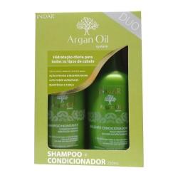 Inoar Argan Oil Duo Kit - Rinkinys:Drėkinantis šampūnas ir kondicionierius 2x250ml
