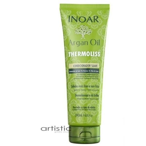 INOAR Argan Oil Thermoliss Conditioner - Garbanotų, nepaklusnių plaukų kondicionierius 240ml