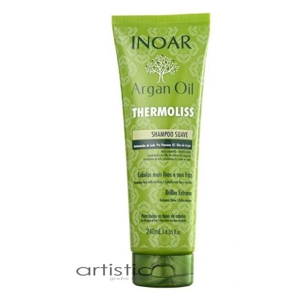 INOAR Argan Oil Thermoliss - Garbanotų, nepaklusnių plaukų šampūnas 240ml